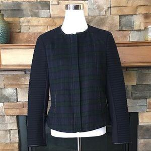 Zara Trafaluc blackwatch plaid wool Moto jacket